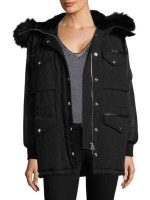 The Kooples Leather Trim Twin-Fabric Parka In Black
