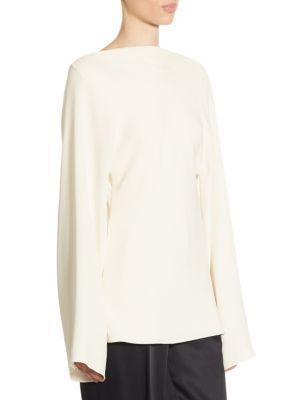 The Row Andra Silk Top In Ivory