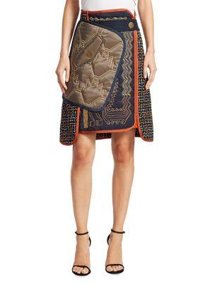 Peter Pilotto Tweed Stitched Belted Skirt In Navy