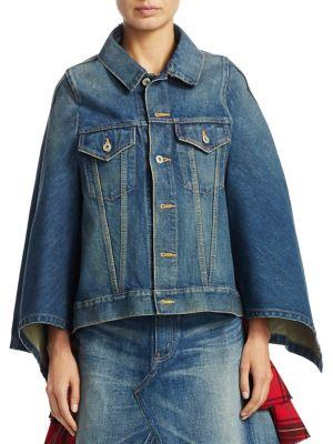Junya Watanabe Cotton Denim Cape Jacket In Indigo
