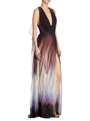 Elie Saab Silk Paintbrush Print Gown In Multi