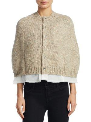 Comme Des GarÇOns Mixed Yarn Cardigan In Mix Beige