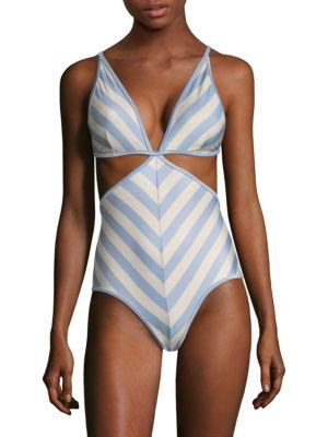 Zimmermann Striped One-Piece Swimsuit In Blue Floral