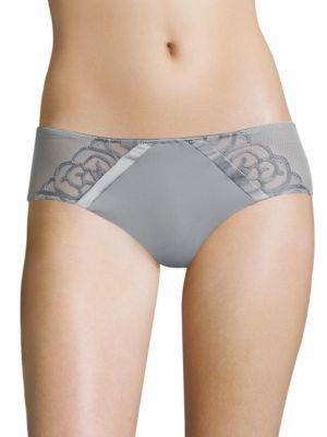 Chantelle Luxembourg Embroidered Hipster In Soft Gray