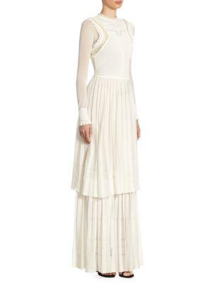 Roberto Cavalli Sheer Tier Gown In Ivory