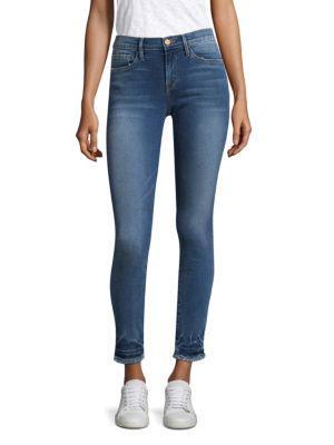 Frame Raw Hem Cropped Skinny Jeans In Romanview