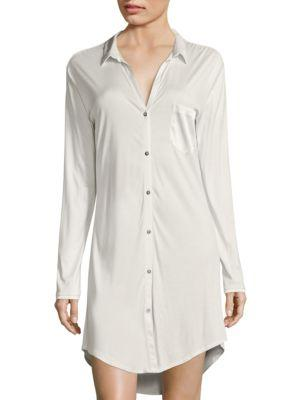 Hanro Grand Central Boyfriend Shirt In Vanilla