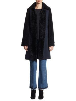 See By ChloÉ Shearling & Wool Coat In Abyss Blue