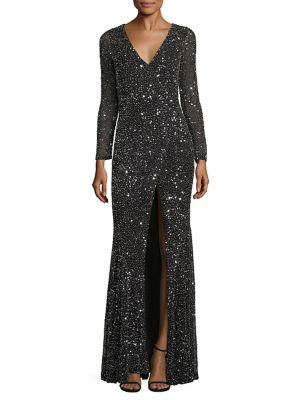 Rachel Gilbert Paola Embellished Gown In Metallic