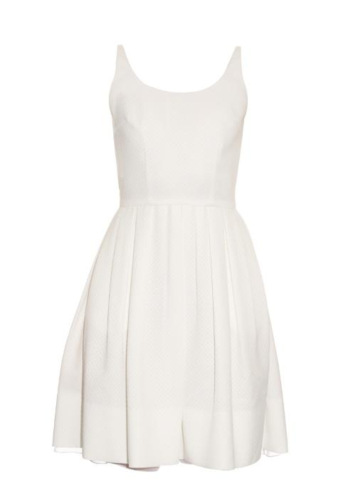 Sophie Theallet Michelle Diamond Jacquard Pleated Dress In White