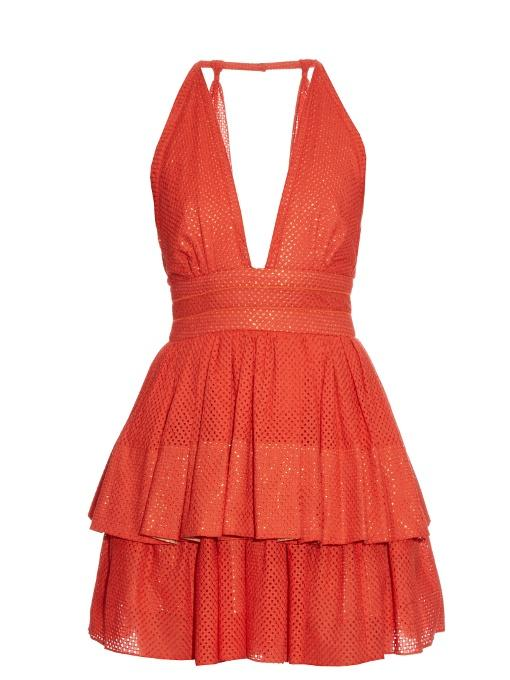 Sophie Theallet Anais Plunging-Neckline Dress In Red