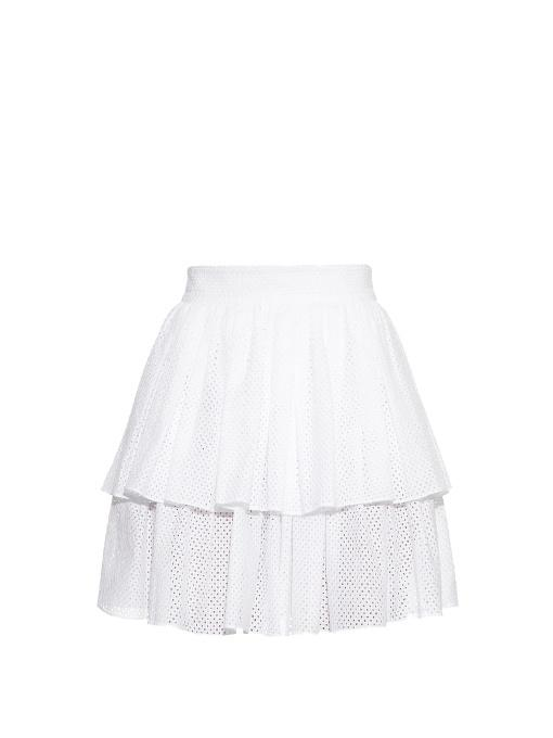 Sophie Theallet Anais Tiered-Ruffle Mini Skirt In White