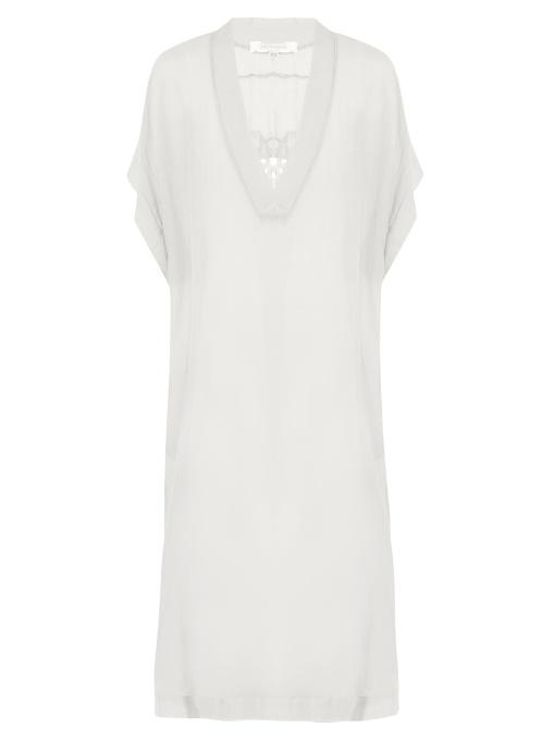 Lila Eugenie 1717 Embroiderd Voile Kaftan In White