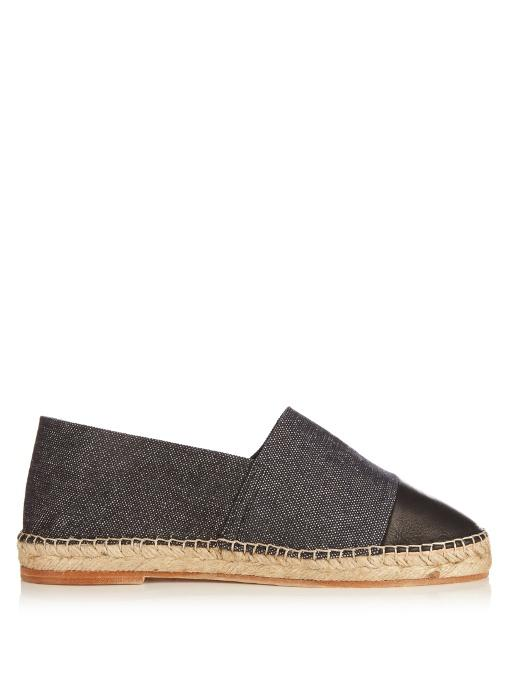 Casa Nata Canvas And Leather Espadrilles In Black
