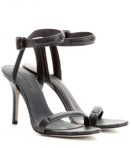 Alexander Wang Antonia Textured-leather Sandals In Llack