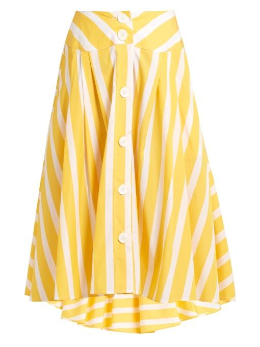 2df0258b02 Thierry Colson Romane Striped Cotton-Poplin Skirt In Yellow Stripe ...
