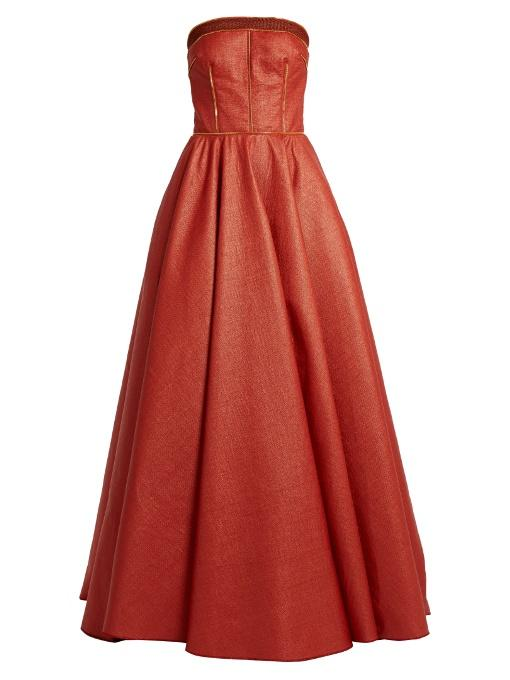 Sophie Theallet Rust Bandeau Woven Raffia Gown In Red