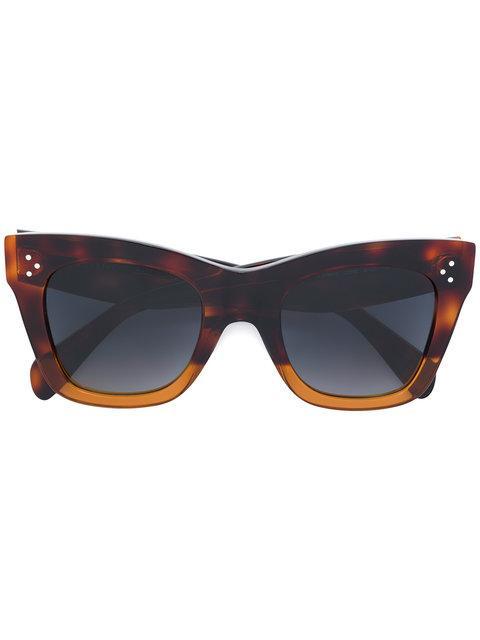 Celine CÉline Eyewear Cat Eye Sunglasses - Brown