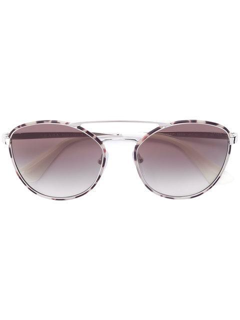 Prada Eyewear Round Aviator Sunglasses - Grey