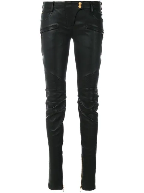 official shop good out x huge selection of Skinny Leather Biker Trousers in C0100