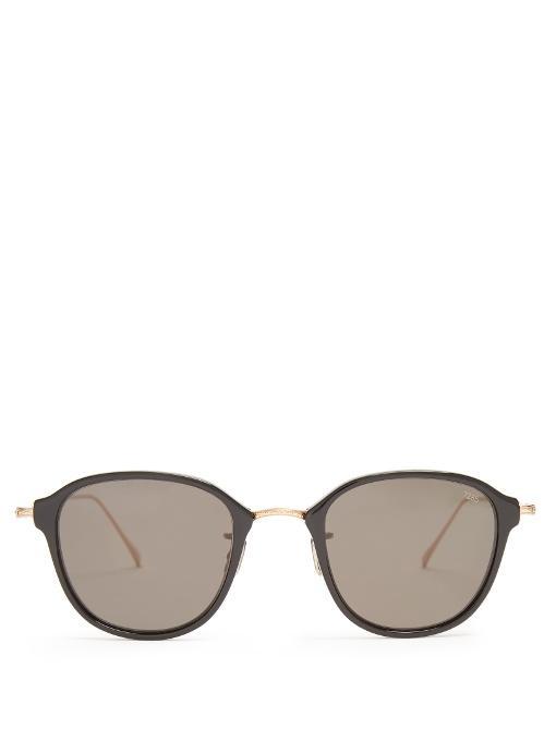 4436c63a995 Eyevan 7285 746 Round-Frame Titanium And Acetate Sunglasses In Brown ...