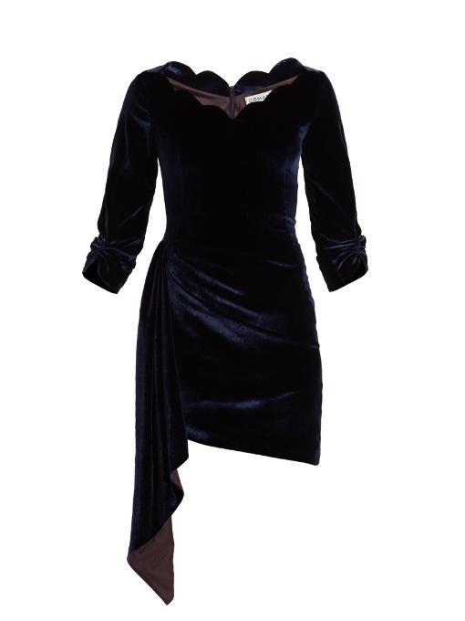 Osman Aileen Scallop-edged Asymmetric Velvet Dress In Royal-blue
