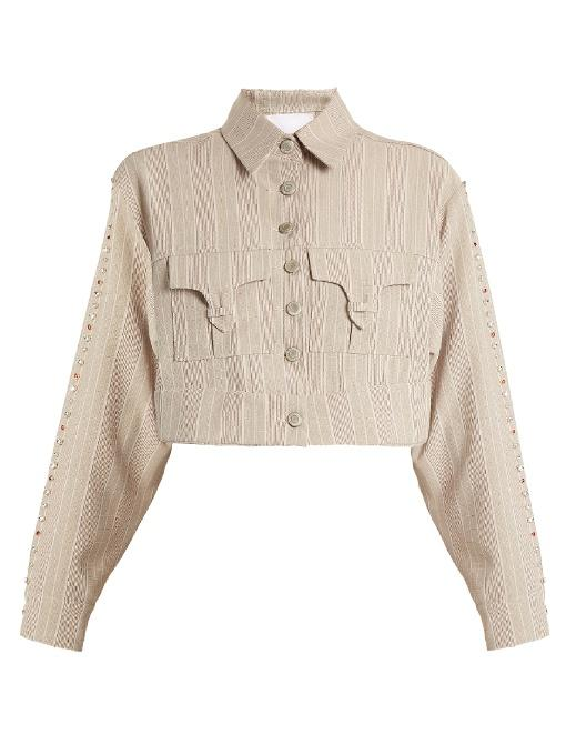 Art School Blow Crystal-embellished Cotton Cropped Jacket In Grey Multi