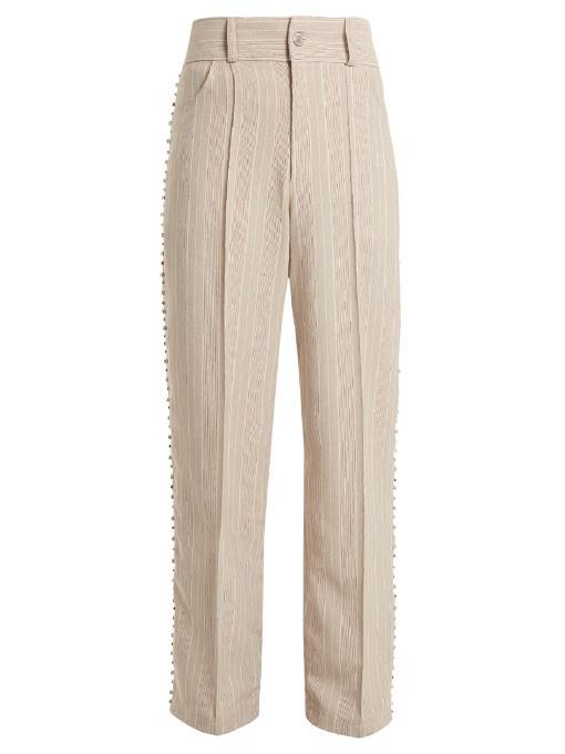Art School Blow Crystal-embellished Wide-leg Cotton Trousers In Grey Multi