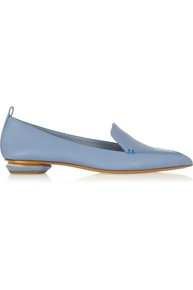 Nicholas Kirkwood 'Beya Bottalato' Metal Heel Leather Skimmer Loafers In Blue