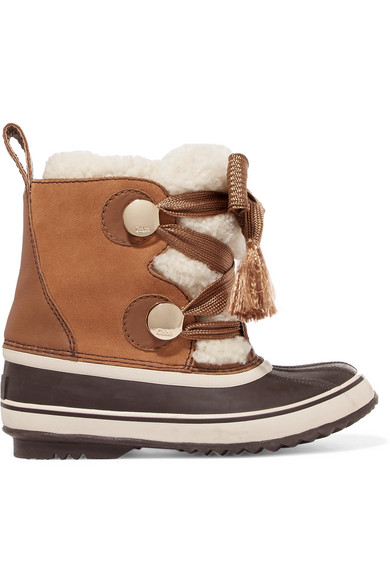 6a807efc Sorel X Chloe Women's Waterproof Suede & Shearling Lace Up Cold-Weather  Booties in Brown