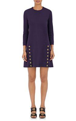 ChloÉ Button-Embellished Wool Shift Dress In Purple