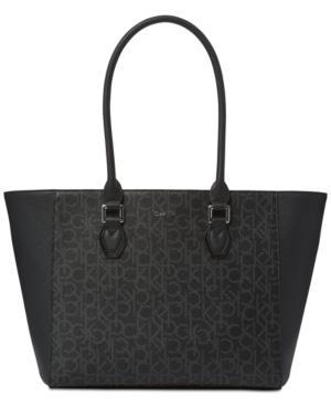 Calvin Klein Ellina Signature Medium Tote In Black/Grey