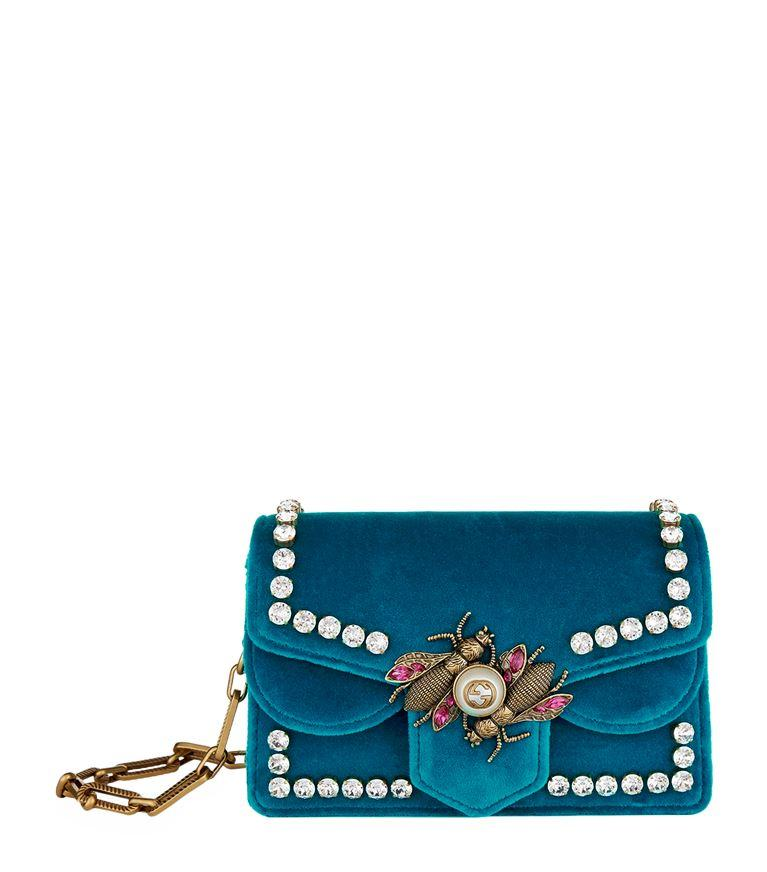 ae29216523cc Gucci Pre-Owned: Broadway Pearly Bee Shoulder Bag Crystal Embellished Velvet  Mini In Blue