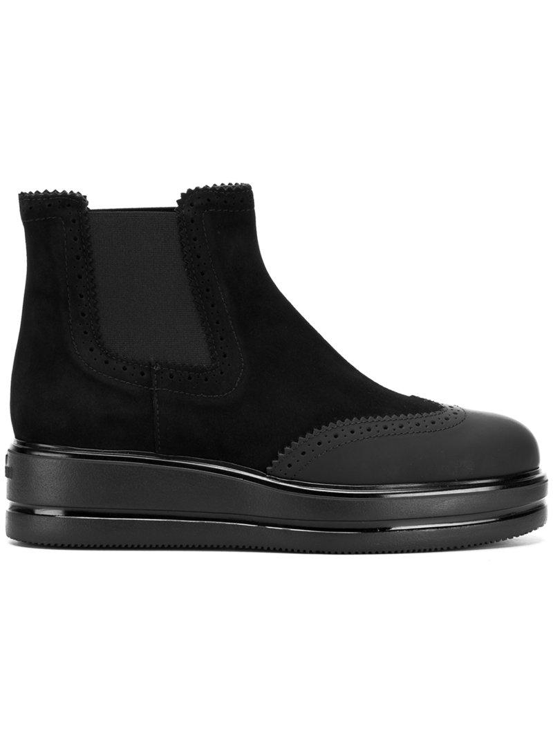 Hogan Suede & Leather Ankle Boot H323 In Black