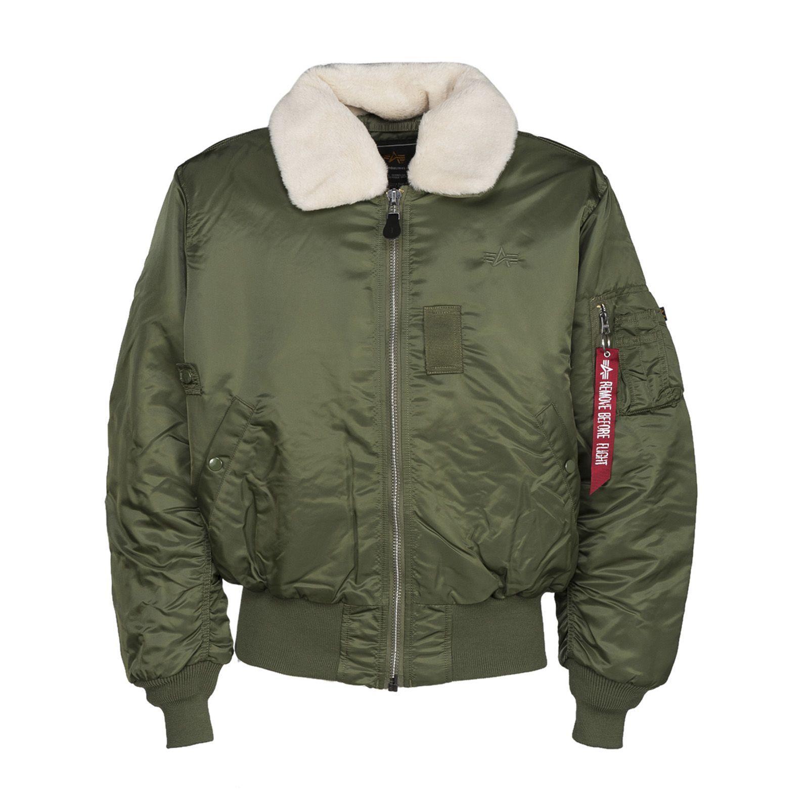 Alpha Industries Faux Fur Collar Bomber Jacket In Sagegreen