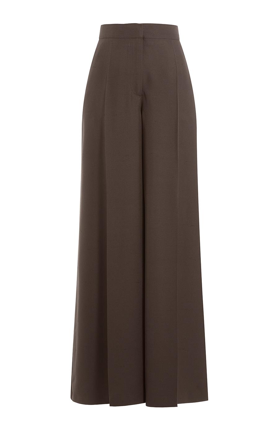Valentino Silk Wide Leg Pants In Brown