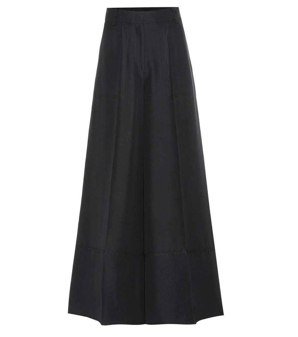 Valentino Wide-Leg Silk Cady Trousers, Black