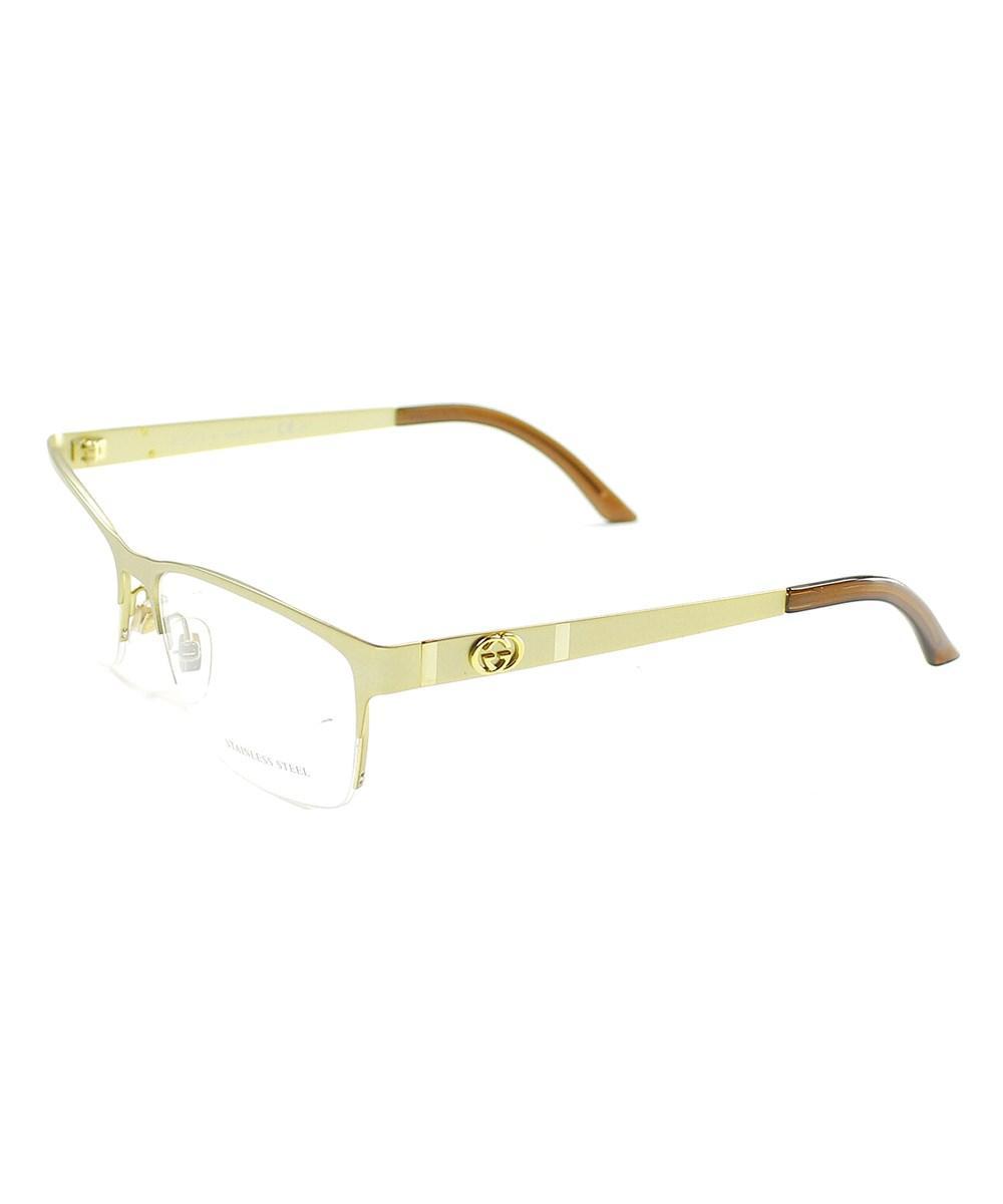 26a99a30357 Gucci Gg 4236 820 Rectangle Semi Rimless Metal Eyeglasses In Gold ...