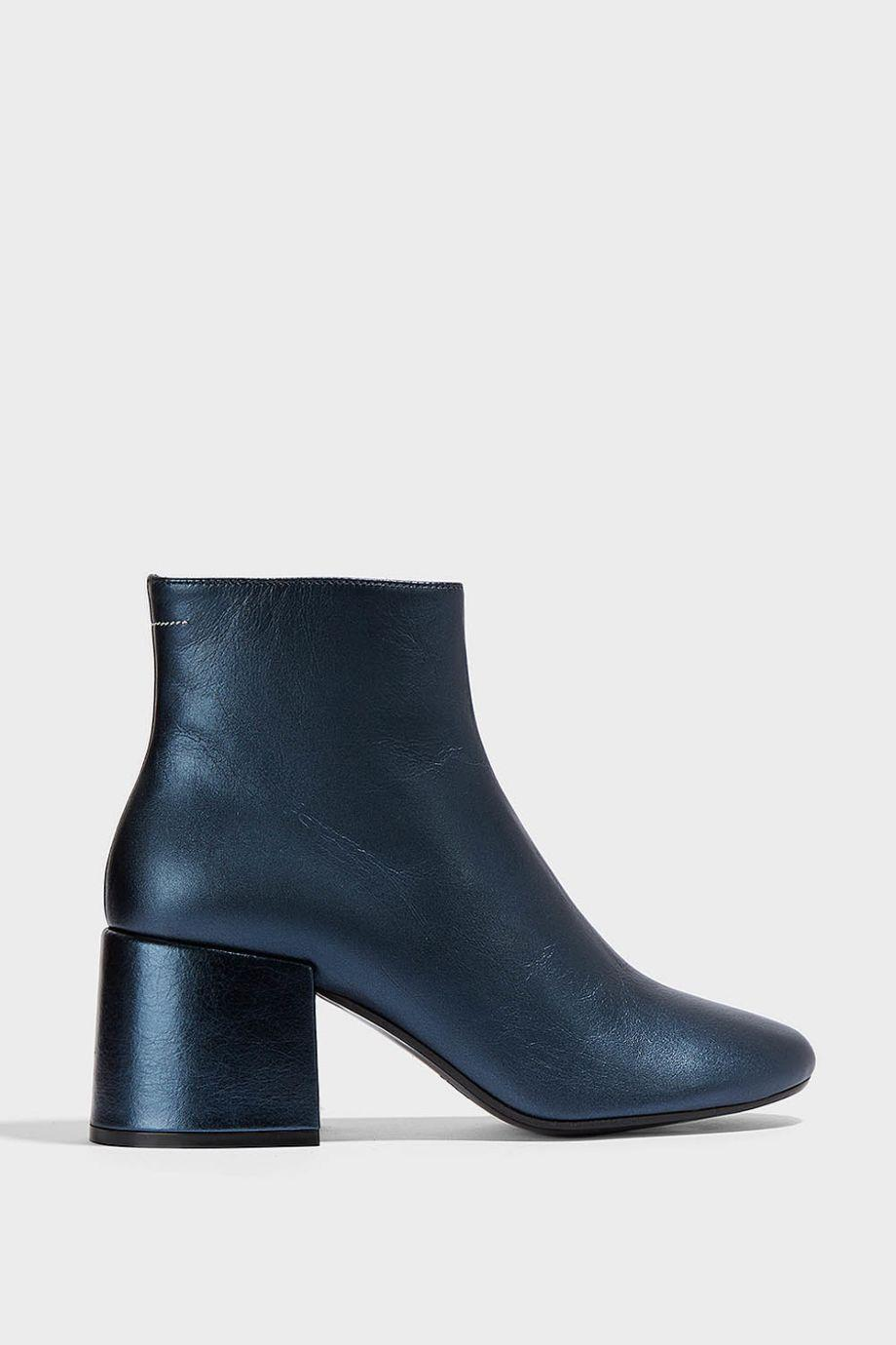 Maison Margiela Leather Ankle Boots In Dark-Blue