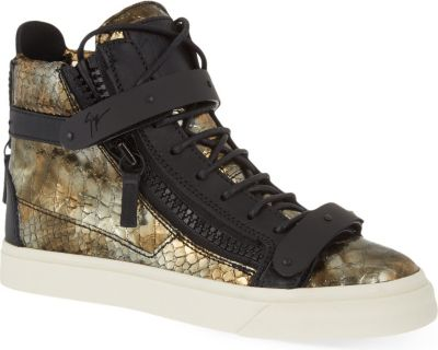 Giuseppe Zanotti Sahara Metallic High-Top Trainers In Bronze