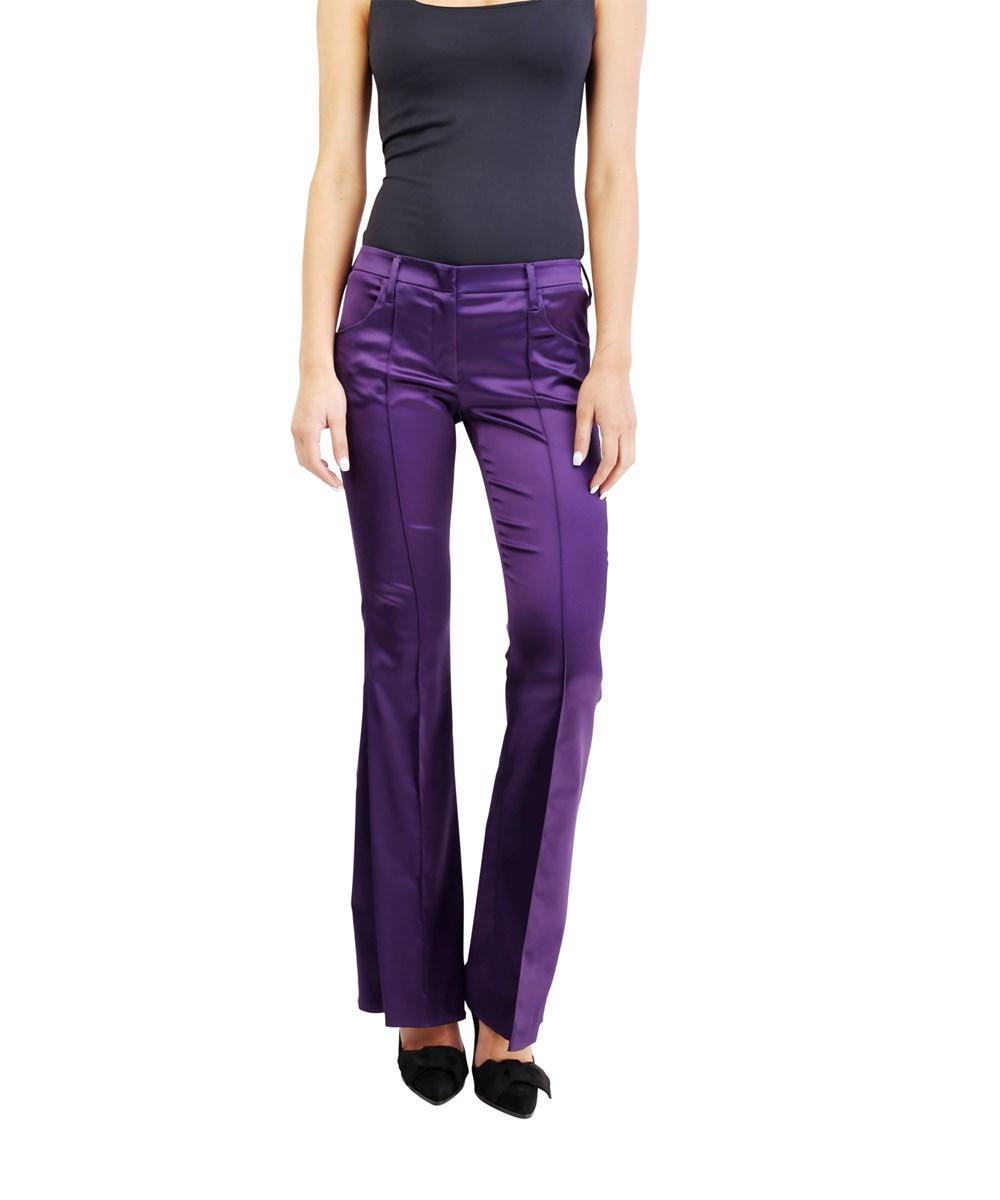 0b940e3605951 Prada Women's Acetate Nylon Blend Shiny Stretch Pants Purple