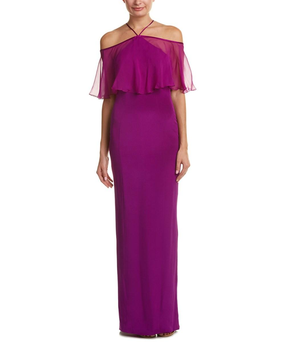 Theia Silk Gown In Pink