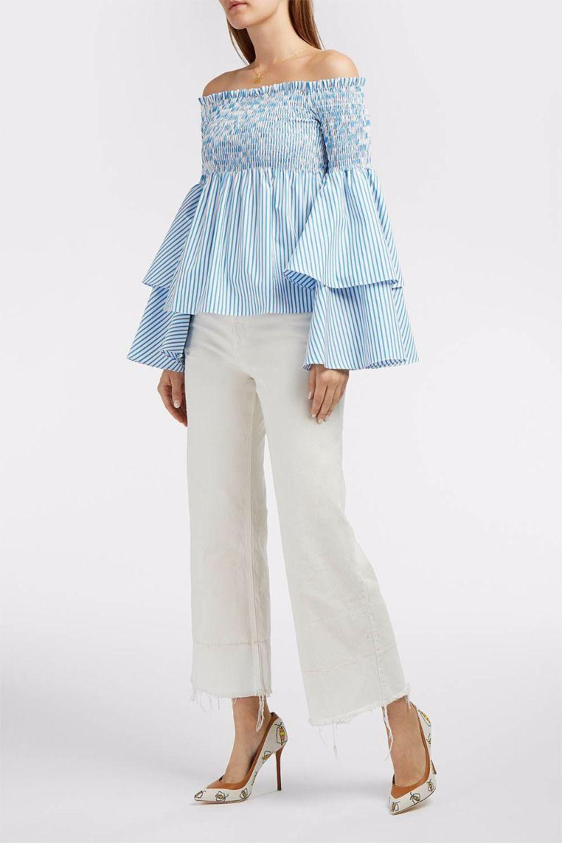 21c40f2b51306f Caroline Constas Woman Appolonia Off-The-Shoulder Shirred Striped  Cotton-Poplin Top Light