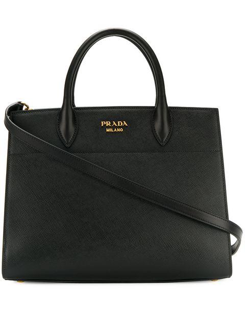 4a2d8be29665 Prada Bibliotheque Medium Saffiano Top-Handle Tote Bag, Black/White (Nero+