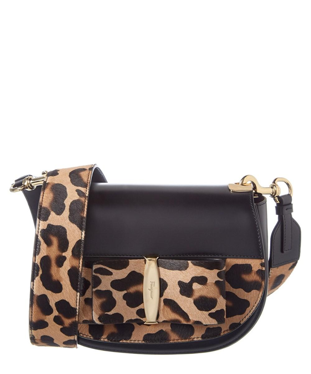 58c488e80a7db5 Salvatore Ferragamo Anna Vara Lux Leopard Haircalf & Leather Shoulder Bag  In Black