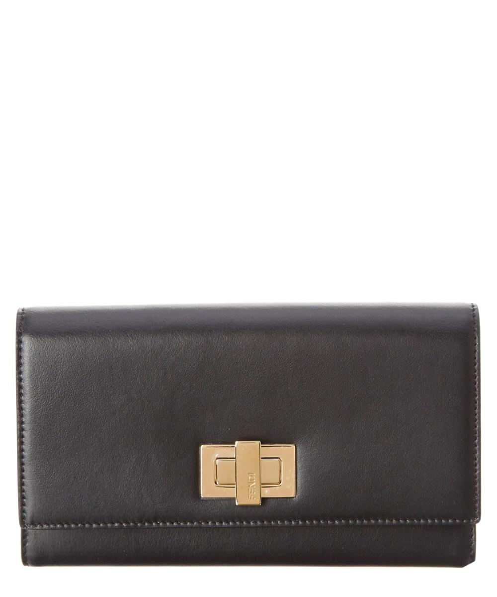 96c8a4199019 Fendi Peekaboo Double Flap Leather Continental Wallet In Black ...