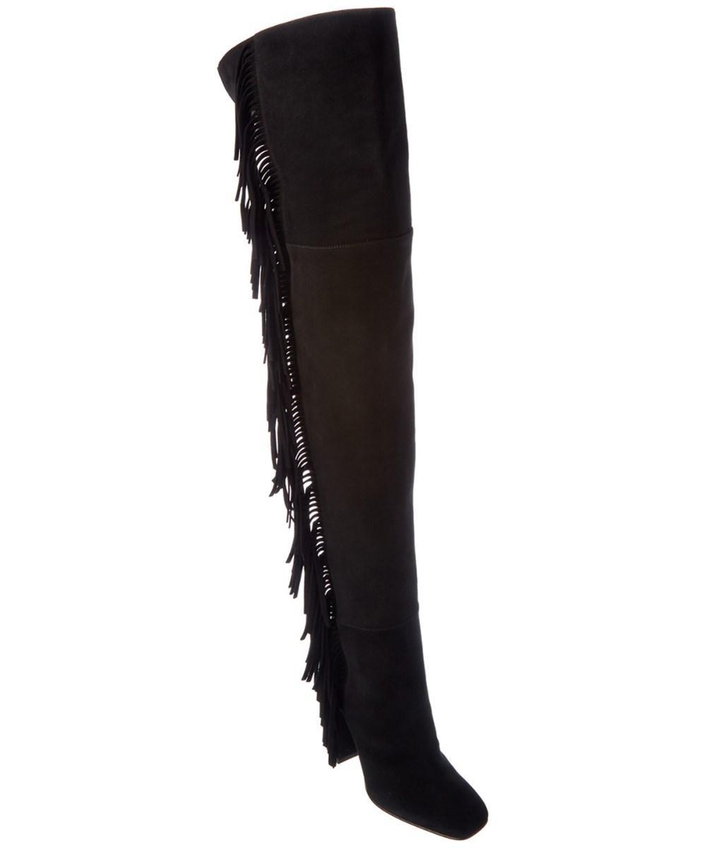 Giuseppe Zanotti Fringe Suede Knee-High Boot In Black