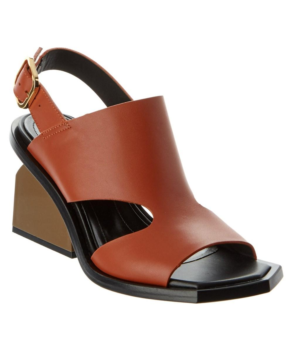 Marni Leather Platform Sandal In Brown