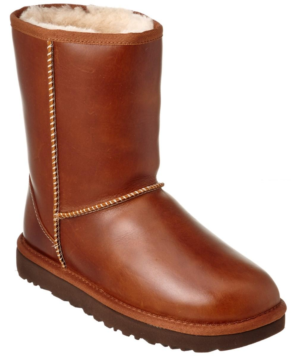 c52eb07a7f4 Ugg Women's Classic Short Water-Resistant Leather Boot in Brown