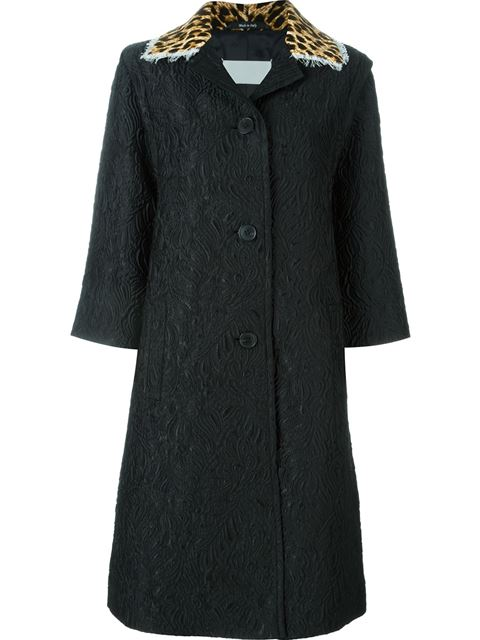 Maison Margiela Floral Brocade Overcoat In Black